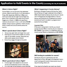 County Galway Culture Night-Friday 16th September 2016