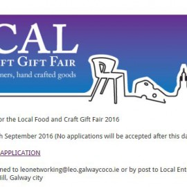 5th LOCAL Food & Craft Gift Fair Saturday 19th & 20th November .Closing date for Stallholders Applications 18th September 2016